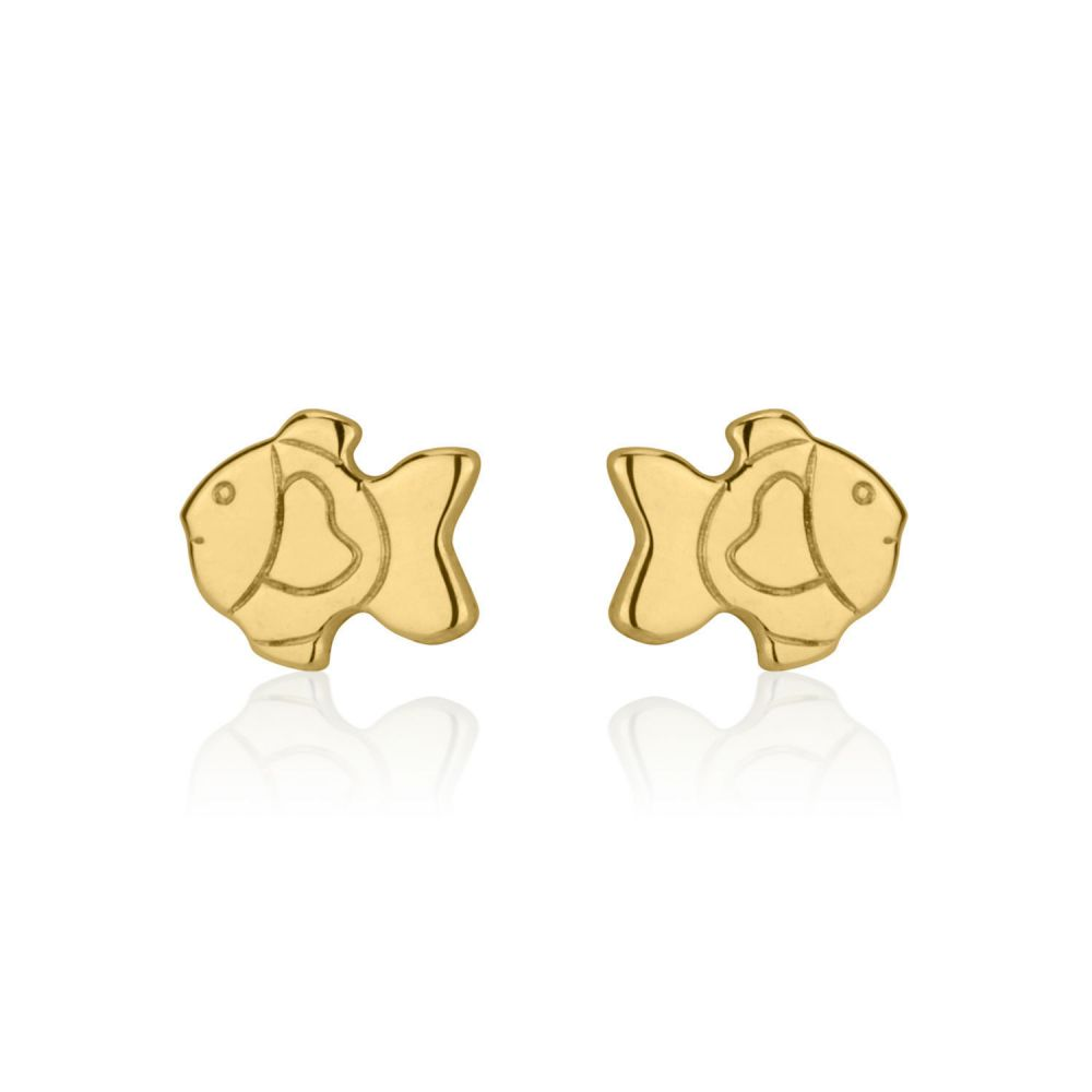 Girl's Jewelry | Gold Stud Earrings -  Goldfish