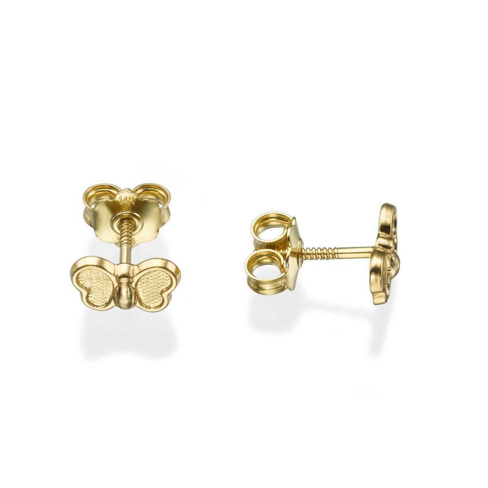 Girl's Jewelry | Gold Stud Earrings -  Butterfly