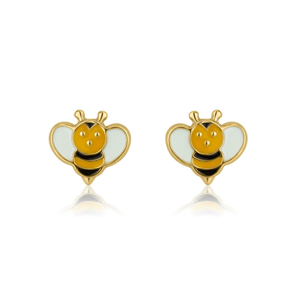 Girl's Jewelry | Gold Stud Earrings -  Busy Bee
