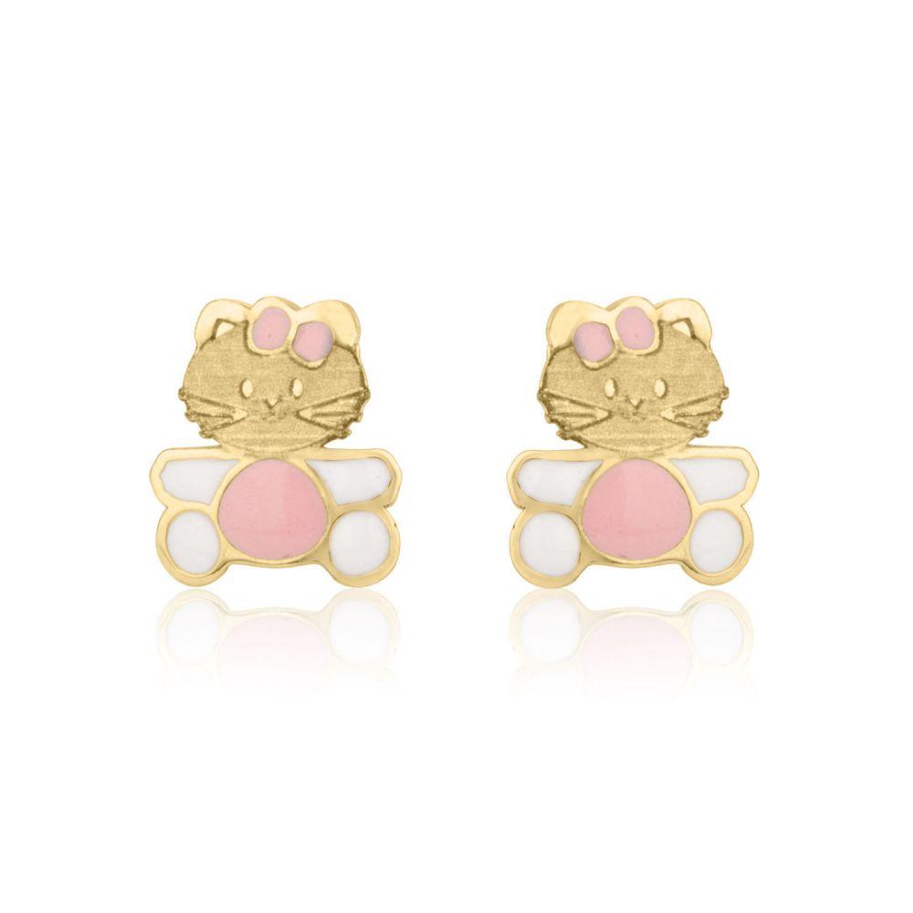 Girl's Jewelry   Gold Stud Earrings -  Kitty Kat