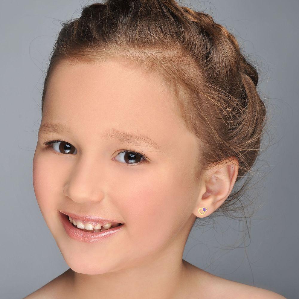 Girl's Jewelry | Gold Stud Earrings -  Delighting Hearts
