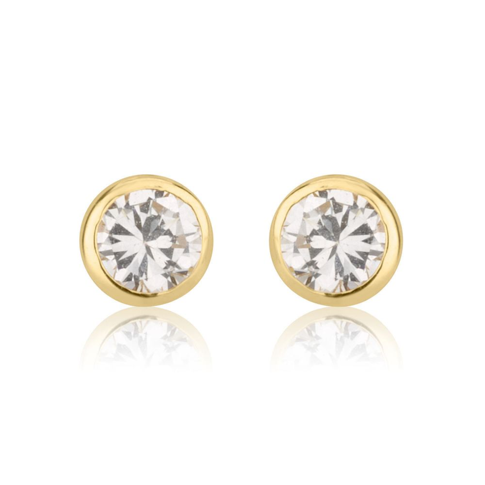 Girl's Jewelry | Gold Stud Earrings -  Sparkling Circle - Delicate