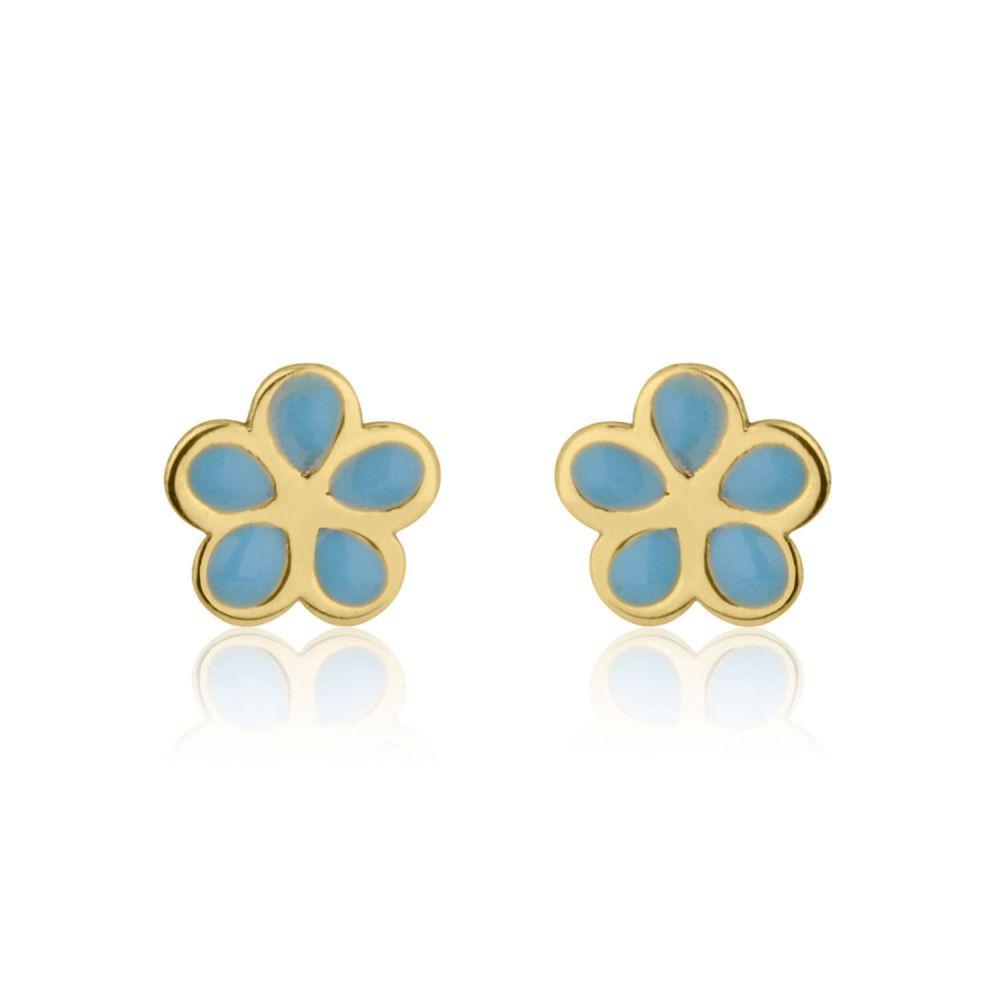 Girl's Jewelry   Gold Stud Earrings -  Flowering Daisy - Blue