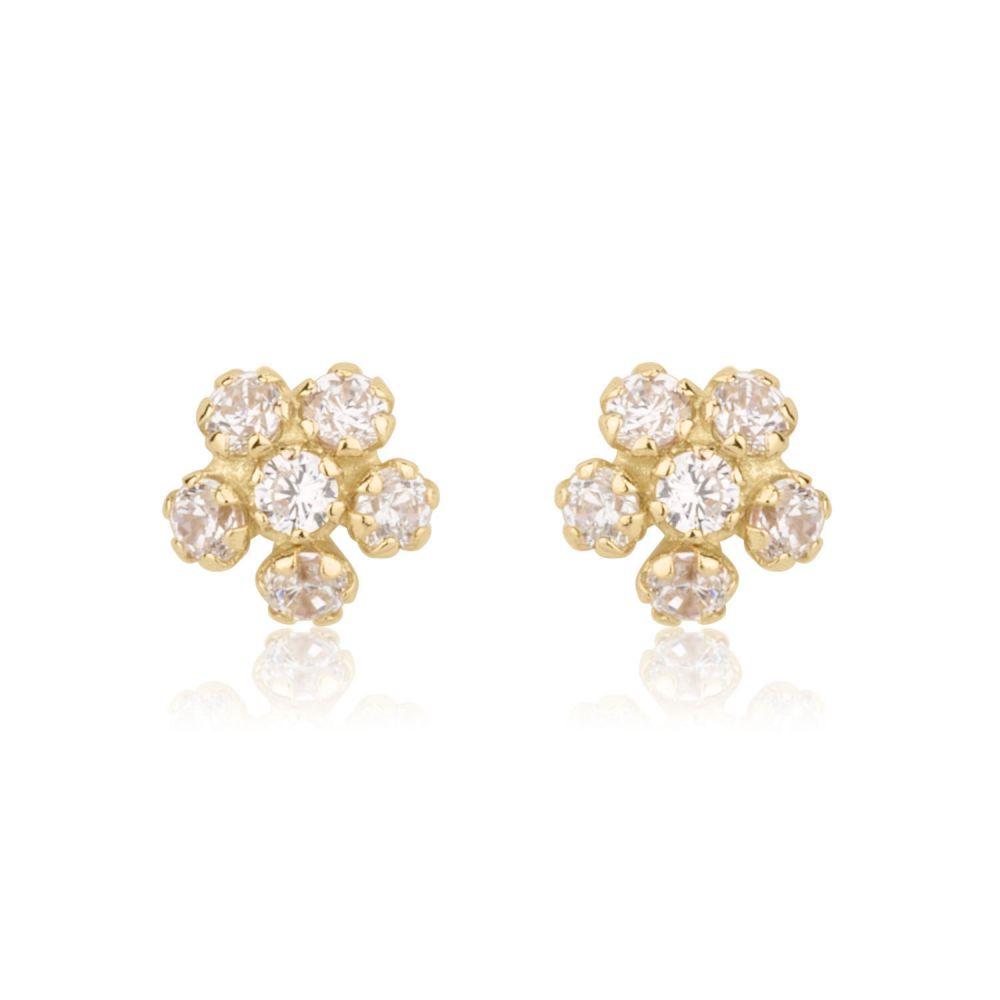 Girl's Jewelry | Gold Stud Earrings -  Flower Extraordinaire