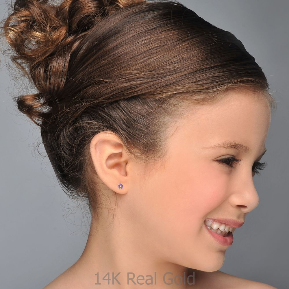 Girl's Jewelry | Gold Stud Earrings -  Lilac Flower