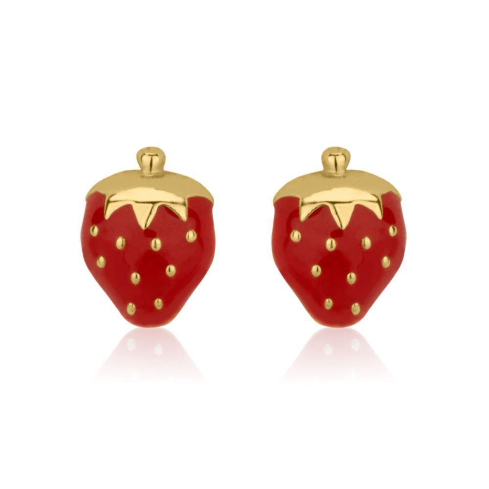 Girl's Jewelry | Gold Stud Earrings -  Sweet Strawberry