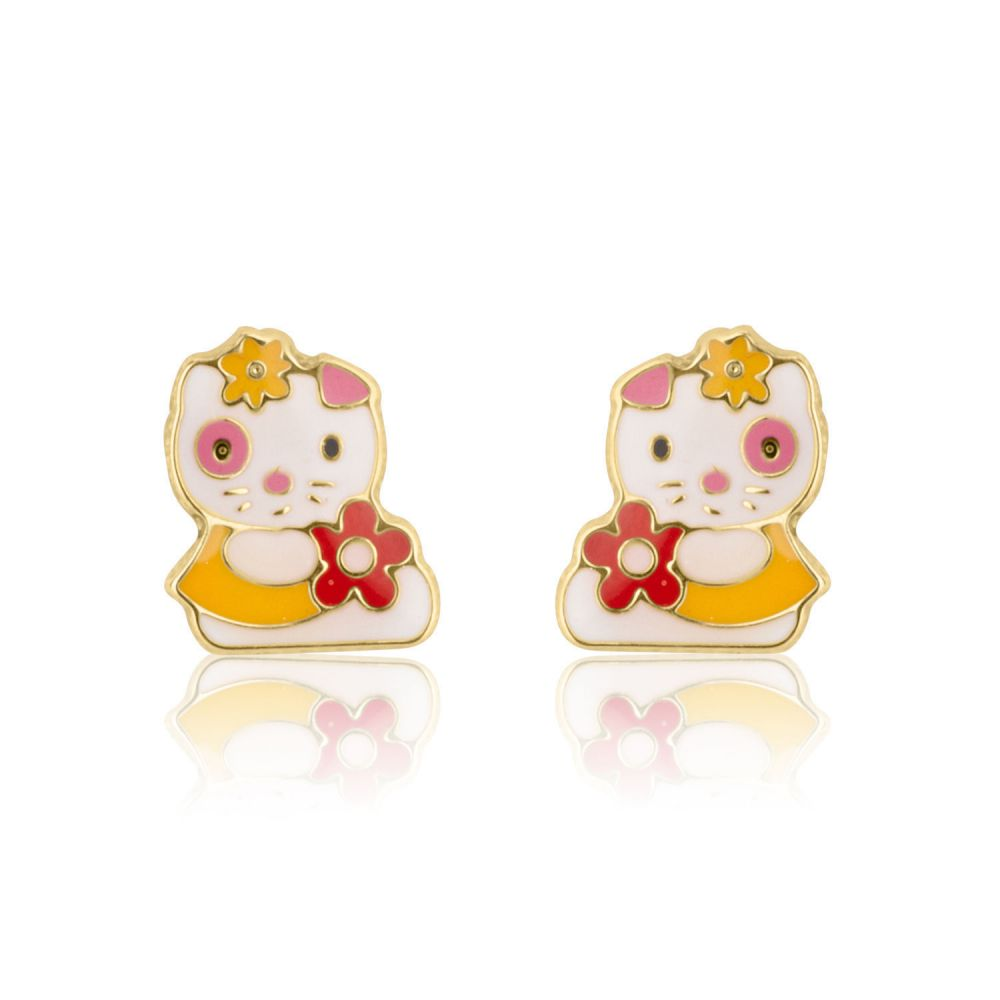 Girl's Jewelry | Gold Stud Earrings -  Charming Cat