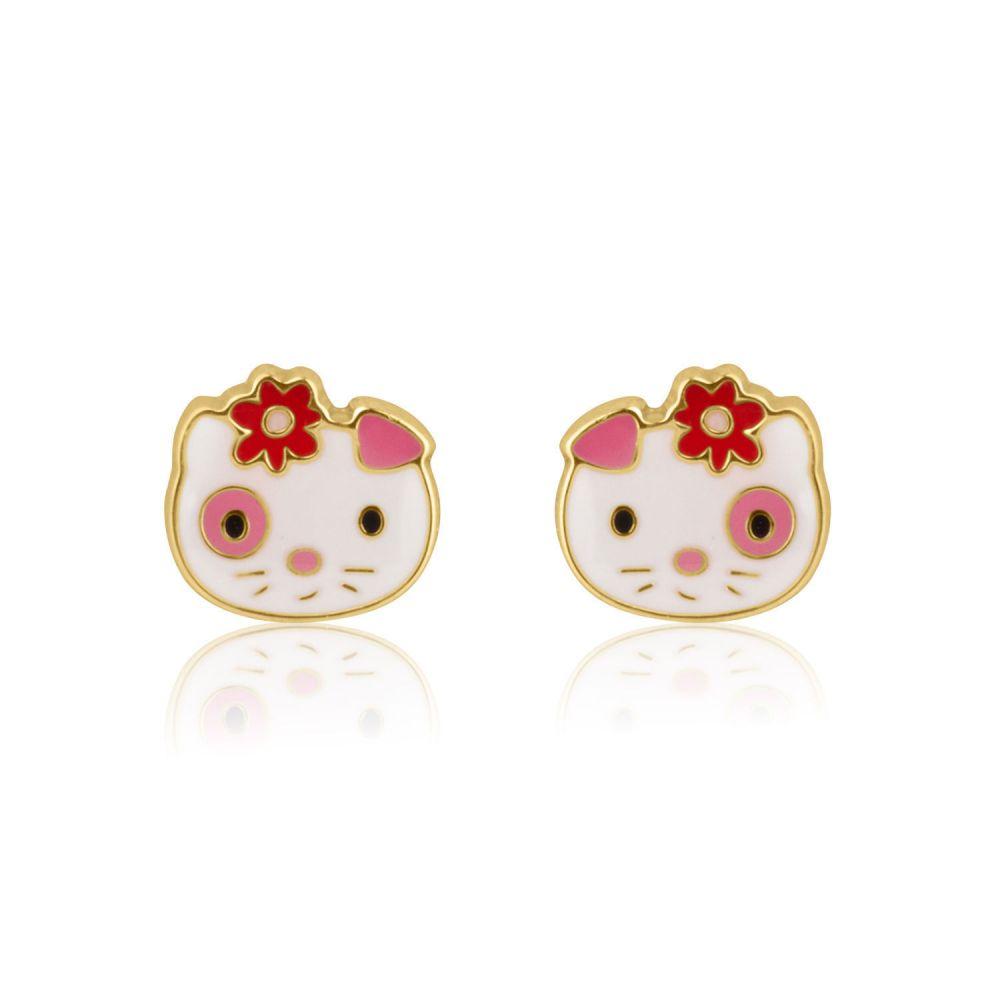 Girl's Jewelry | Gold Stud Earrings -  Cutie Cat