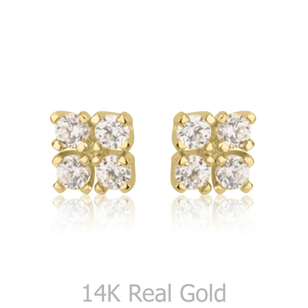 Girl's Jewelry | Gold Stud Earrings -  Glittering Square