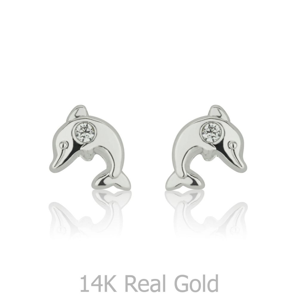 Girl's Jewelry | White Gold Stud Earrings -  Sparkling Dolphin