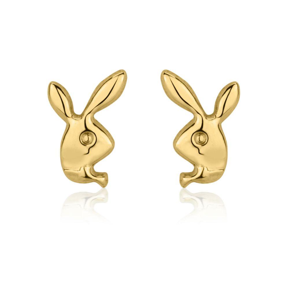 Girl's Jewelry   Gold Stud Earrings -  Sweet Rabbit