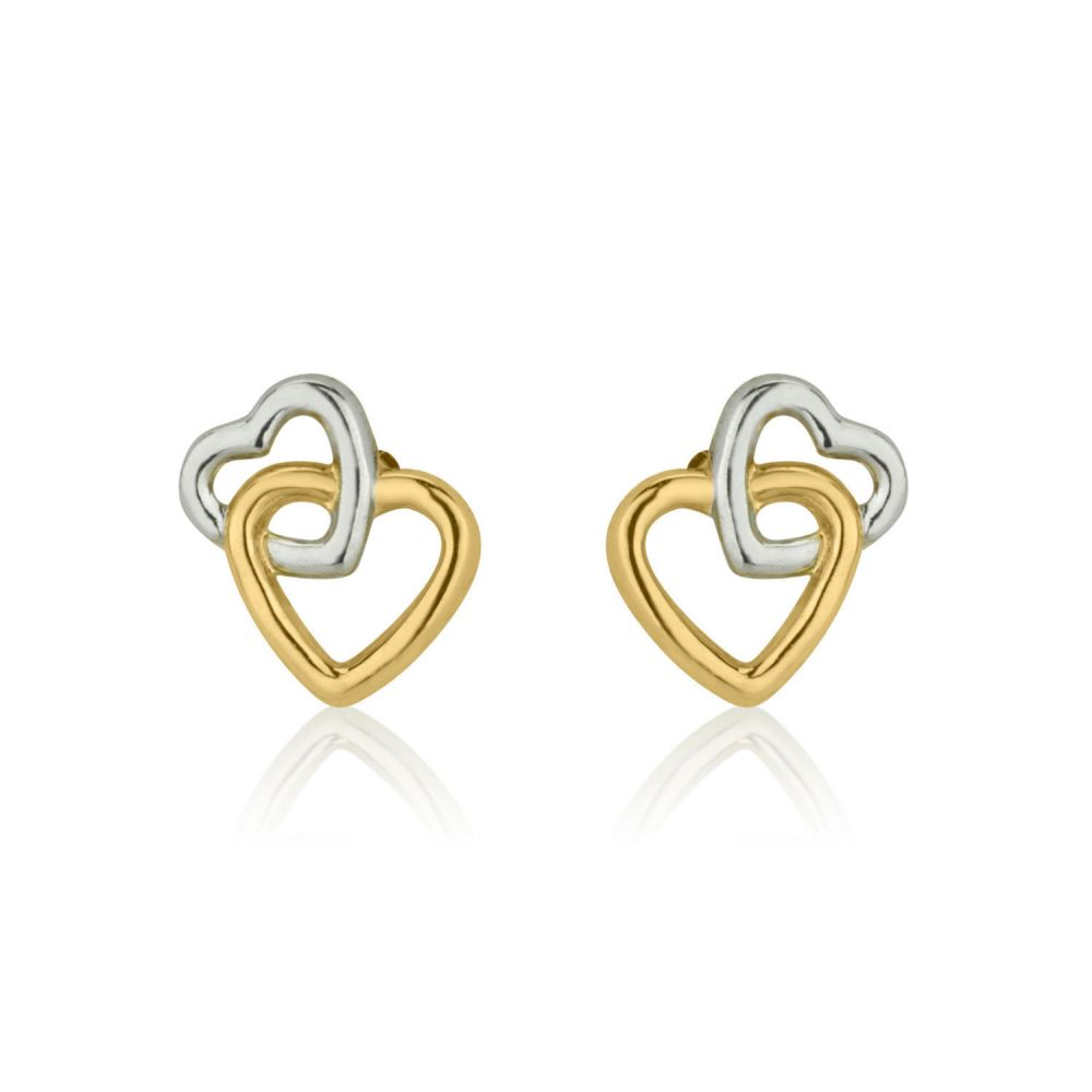 Girl's Jewelry | Gold Stud Earrings -  Joined Hearts
