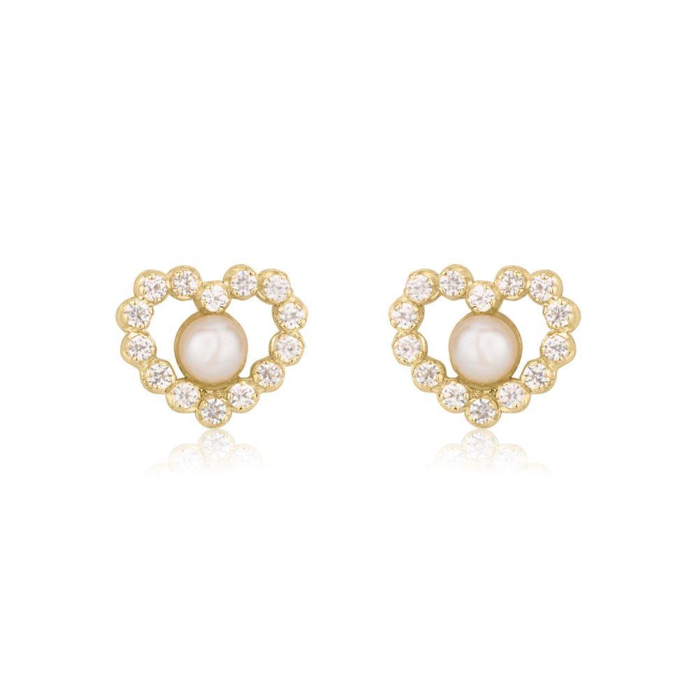 Girl's Jewelry | Gold Stud Earrings -  Marilyn Pearl