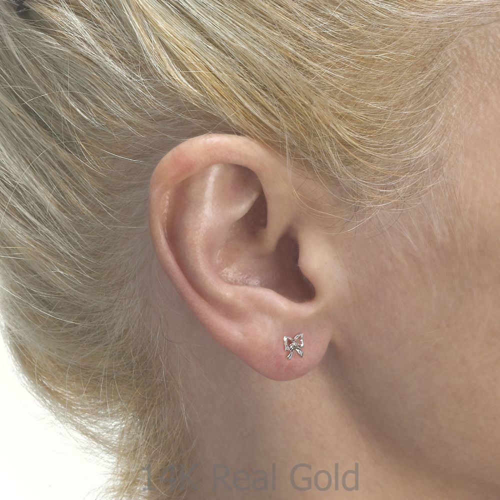 Girl's Jewelry | White Gold Stud Earrings -  Delicate Bow