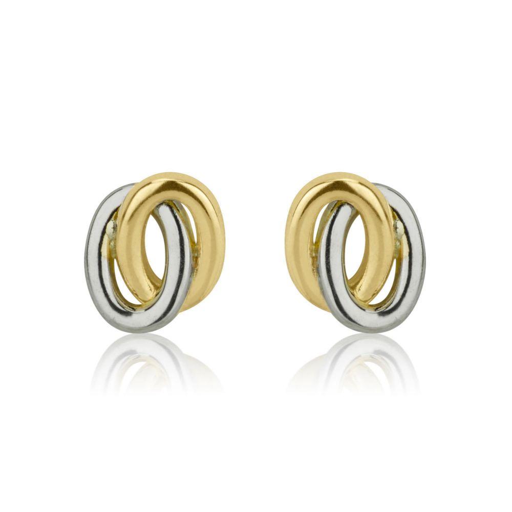 Girl's Jewelry | Gold Stud Earrings -  Ellipse Circles