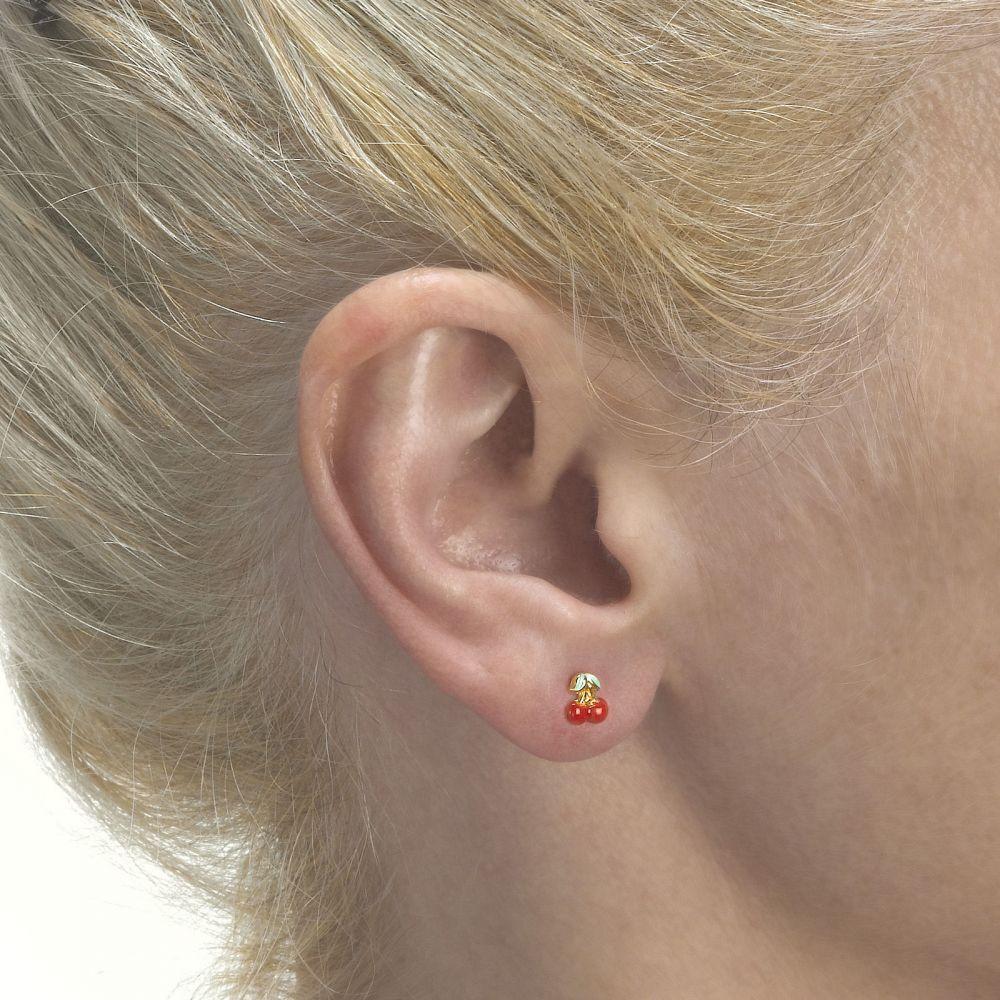 Girl's Jewelry | Gold Stud Earrings -  Cheery Cherry
