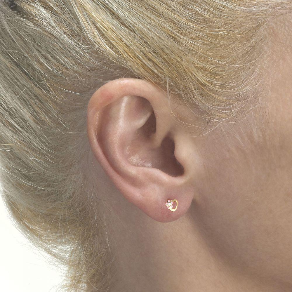 Girl's Jewelry | Gold Stud Earrings -  Daisy Heart - Pink