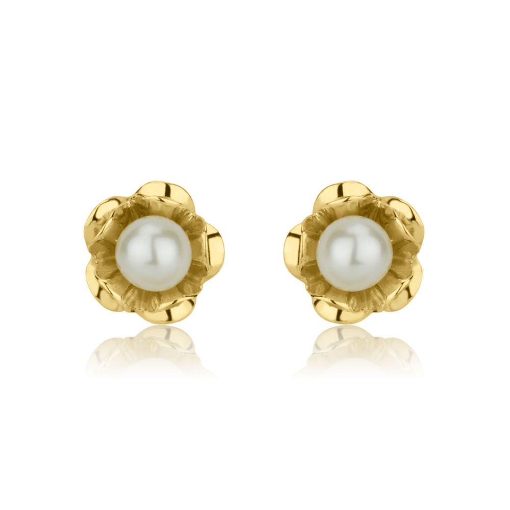 Girl's Jewelry | Gold Stud Earrings - Pearl & Flower