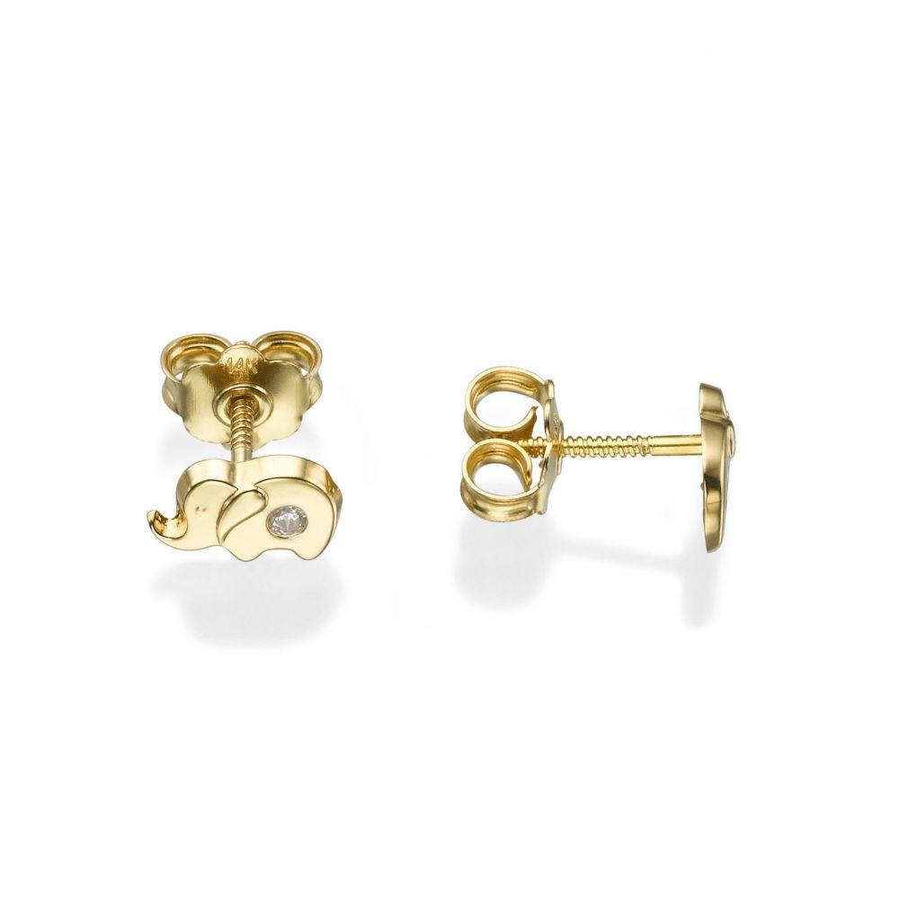Girl's Jewelry | Gold Stud Earrings -  Sparkling Elephant