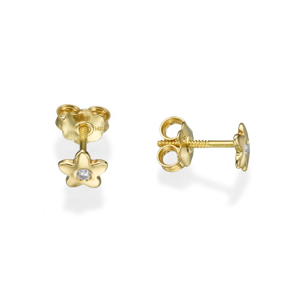 Girl's Jewelry | Gold Stud Earrings -  Sparkling Flower - Yellow