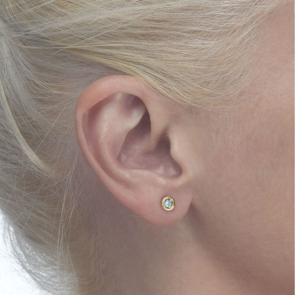 Girl's Jewelry | Gold Stud Earrings -  Topaz Circle - Small