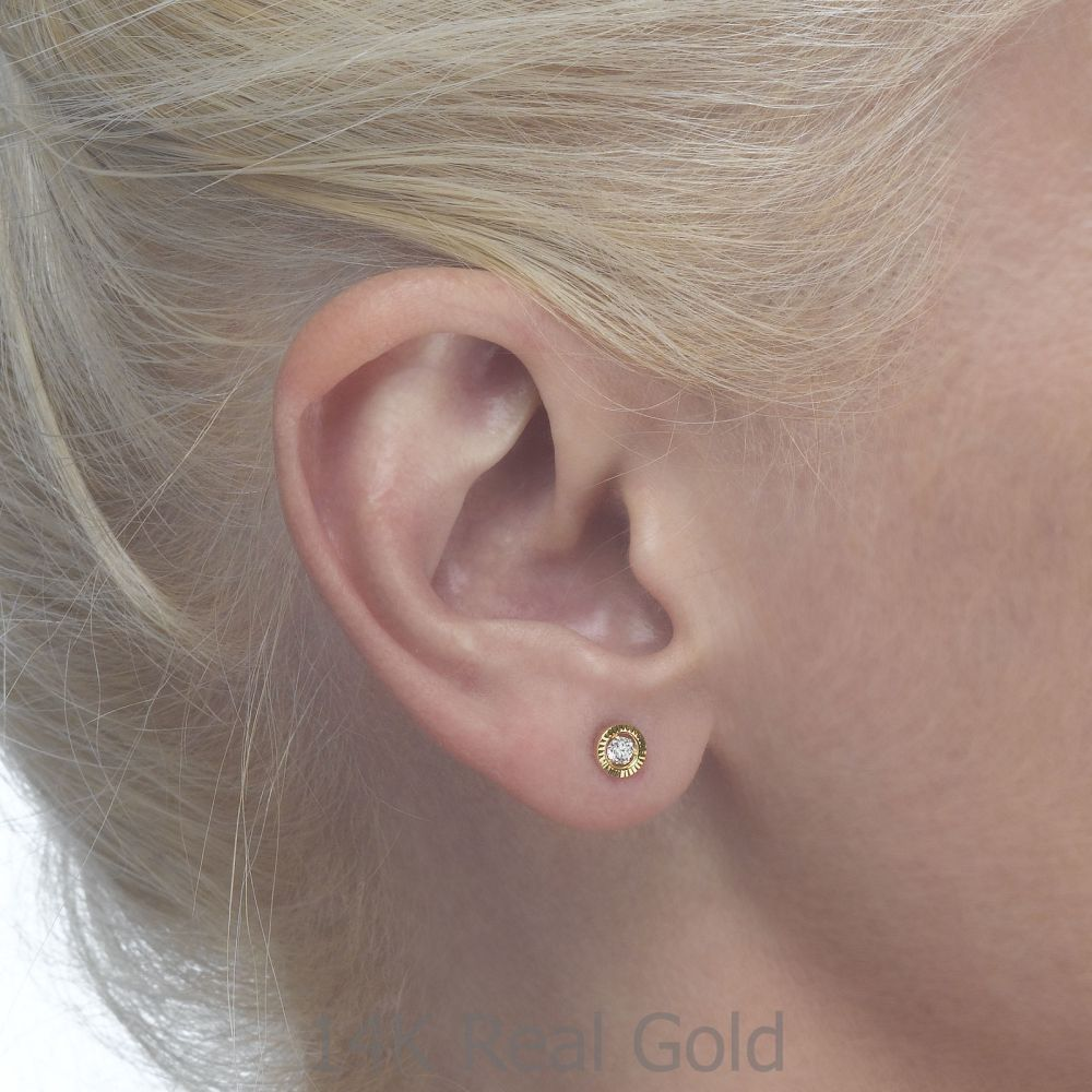 Girl's Jewelry | Gold Stud Earrings -  Crystal Circle - Small