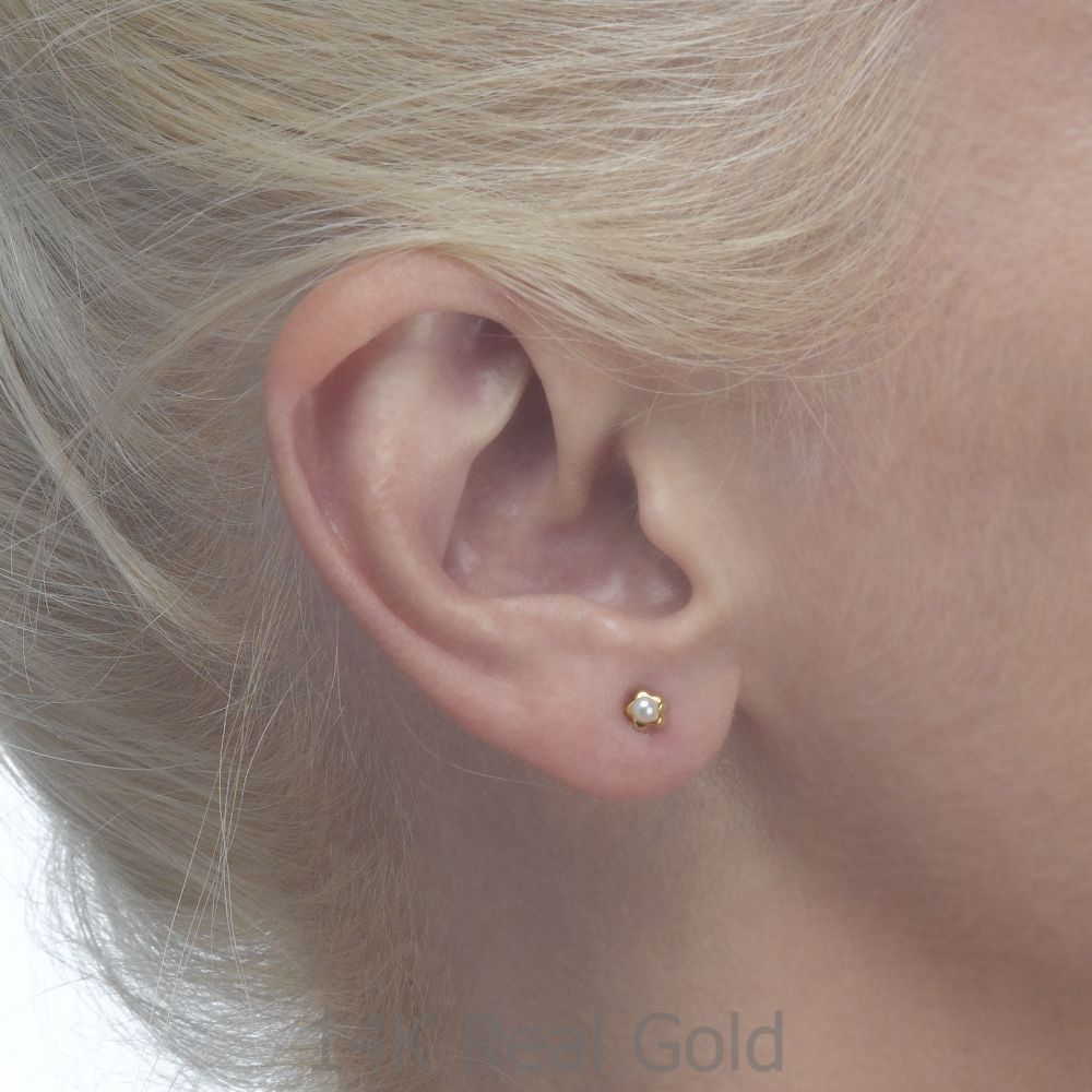 Girl's Jewelry   Gold Stud Earrings -  Flowering Pearl - Small