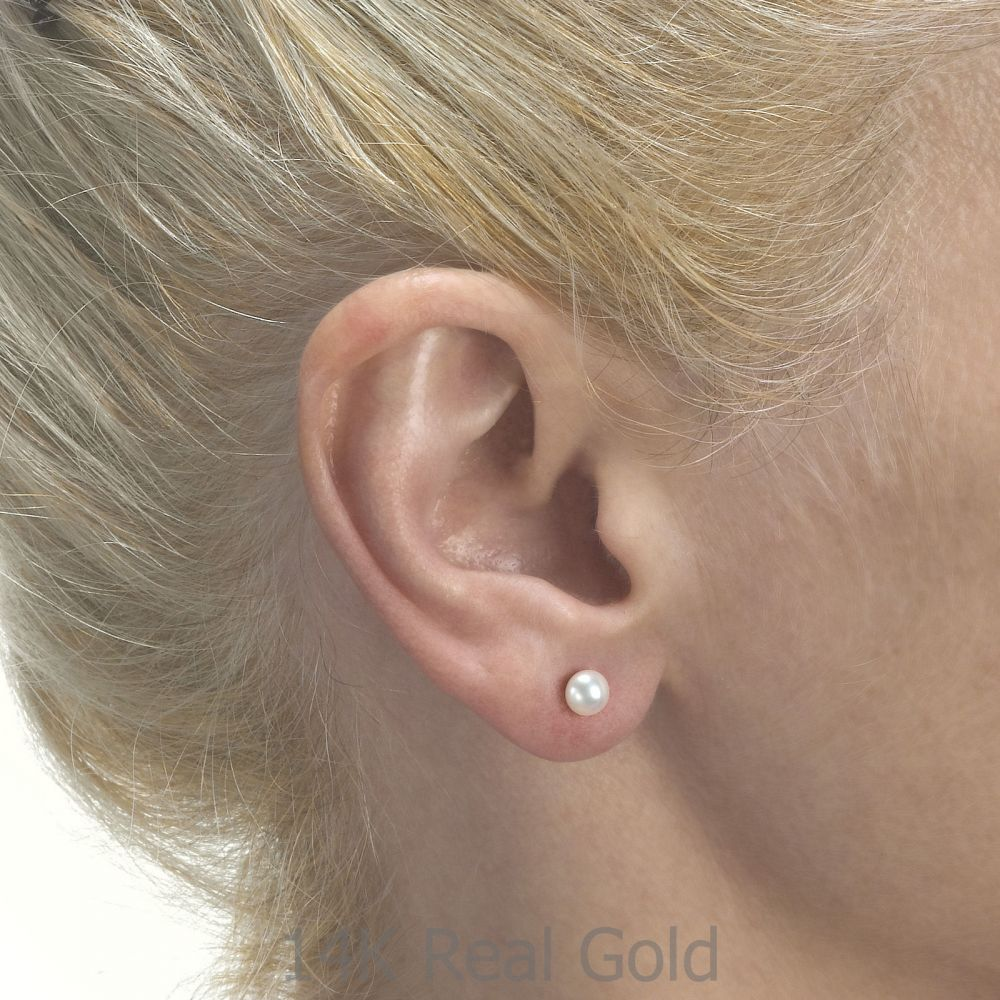 Girl's Jewelry   Gold Stud Earrings -  Button Pearl
