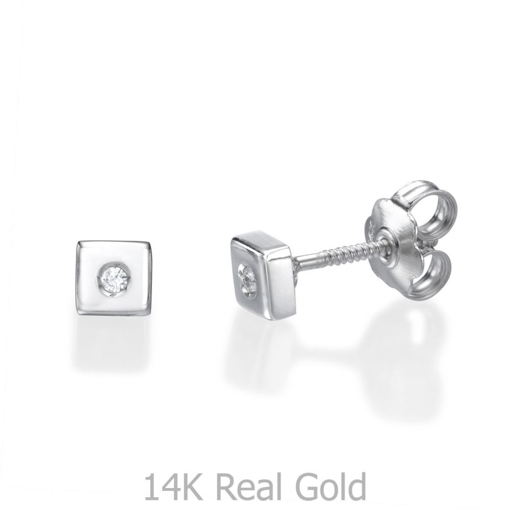 Girl's Jewelry | White Gold Stud Earrings -  Sparkling Square