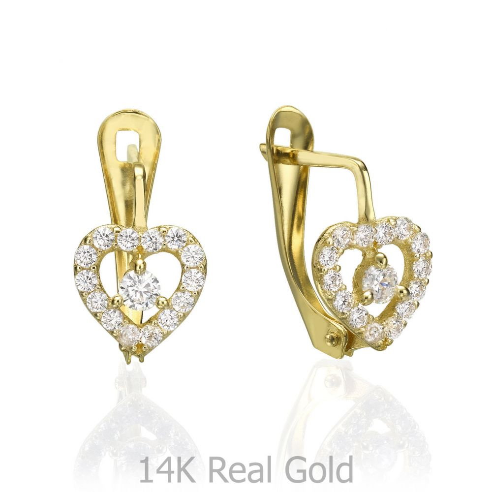 Gold Earrings | Drop Earrings - Glowing Heart