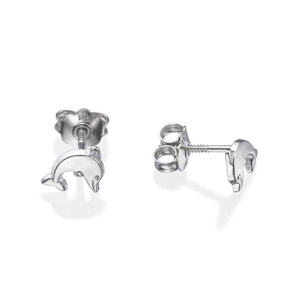Girl's Jewelry | White Gold Stud Earrings -  Joyous Dolphin