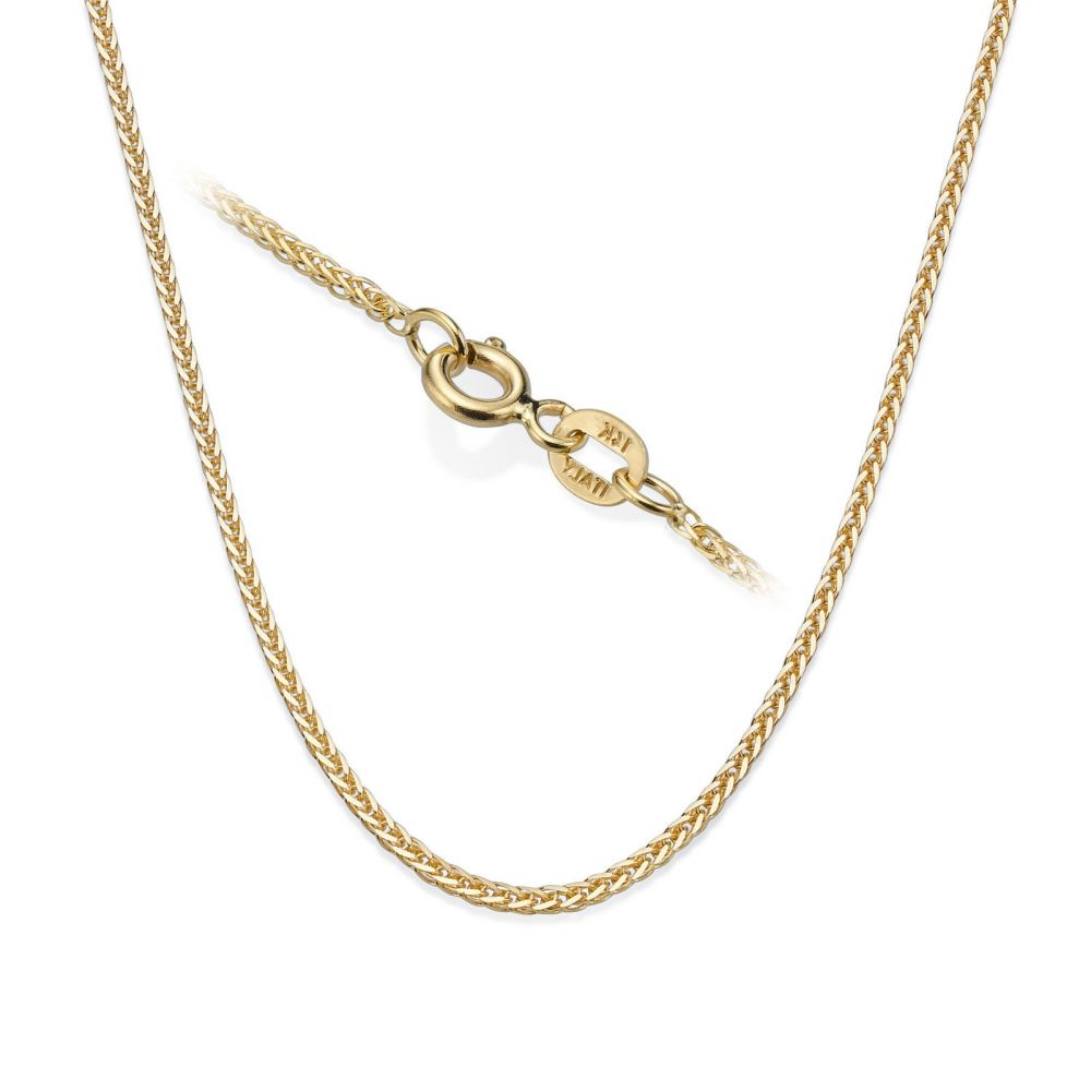 Gold Chains | Spiga Necklace -  Elegant Braid, 0.8 MM