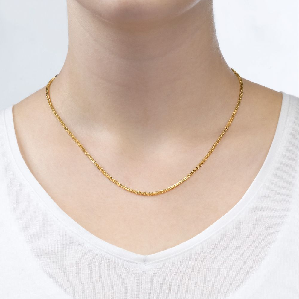 Gold Chains | Spiga Chain Necklace Yellow Gold - Elegant Braid, 1.5mm