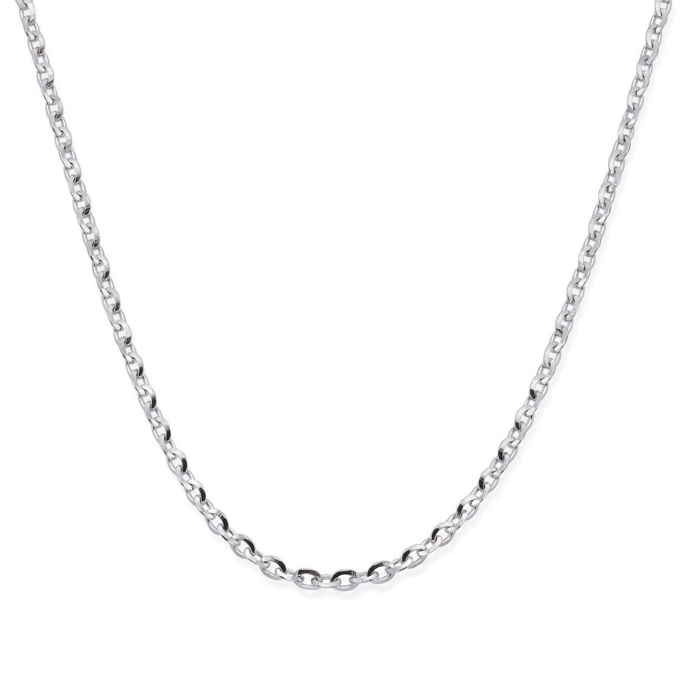 Gold Chains | Rollo Chain Necklace White Gold - Links of Beauty, 1.6mm