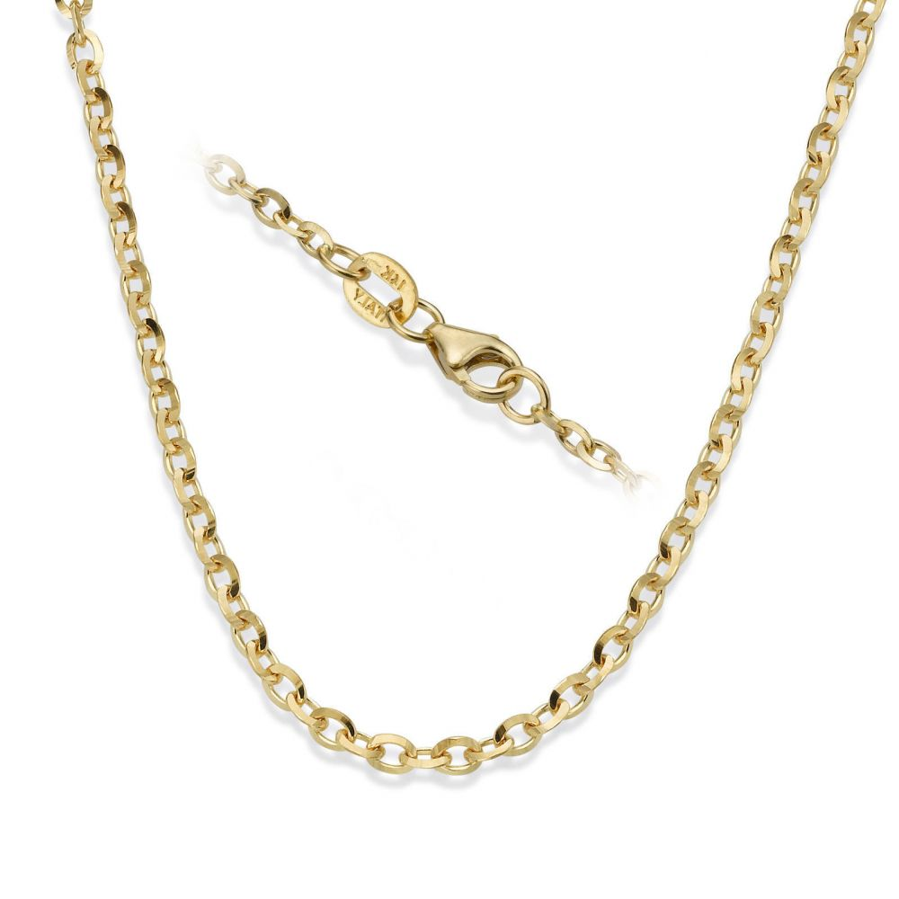 Gold Chains | 14K Yellow Gold Rollo Chain Necklace 2.2mm Thick, 17.7