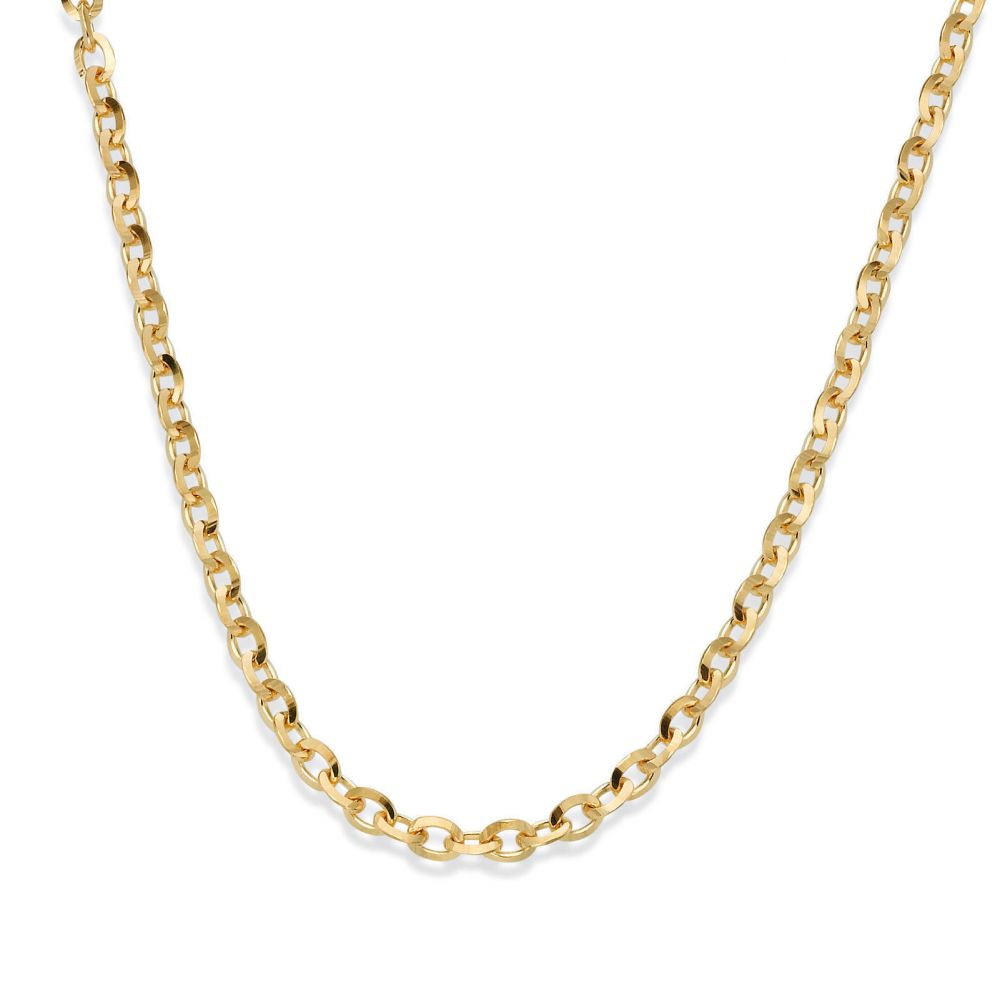 Gold Chains | 14K Yellow Gold Rollo Chain Necklace 2.2mm Thick, 19.5