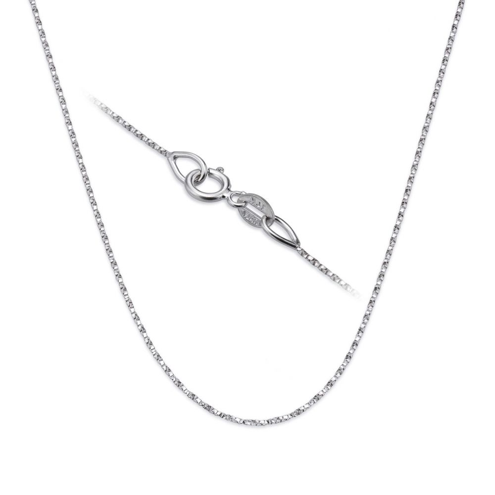 Gold Chains | Twisted Venice Chain Necklace White Gold - Shining Bright, 0.6mm