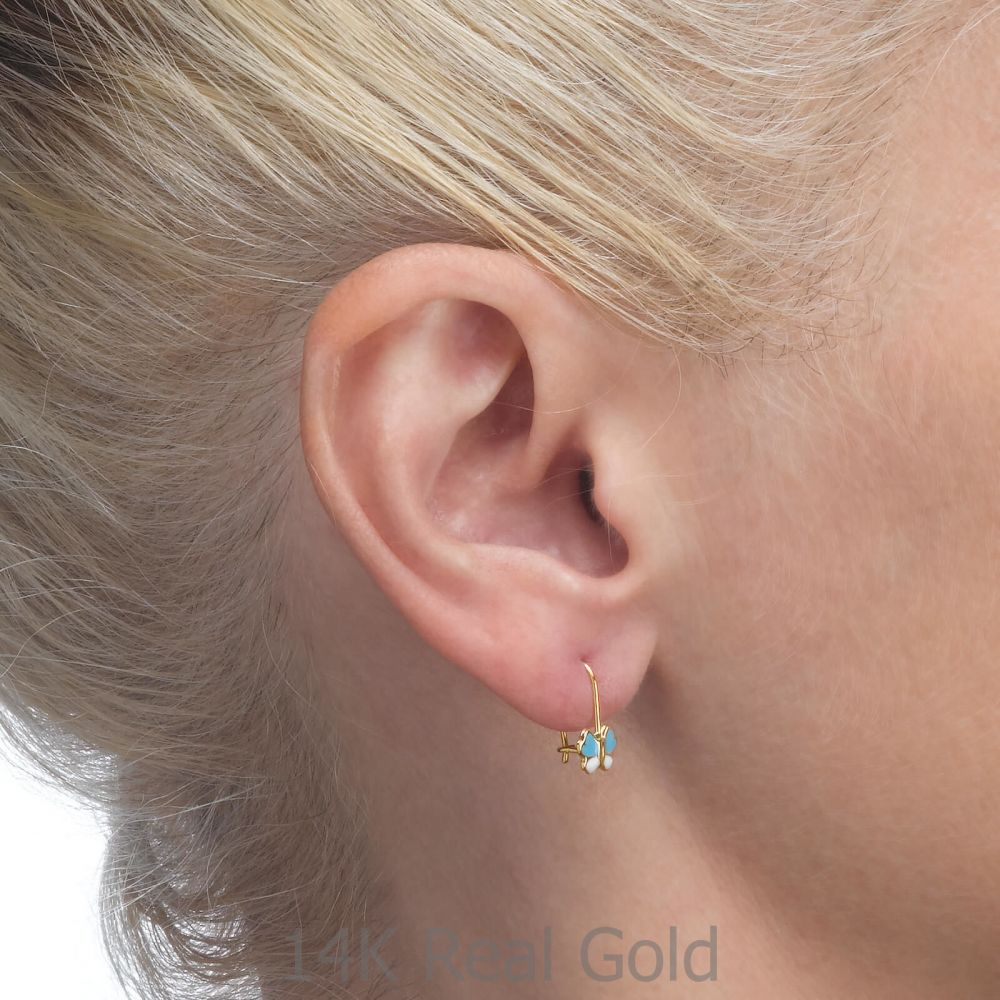Gold Earrings | Earrings - Gila Flower - Light Blue