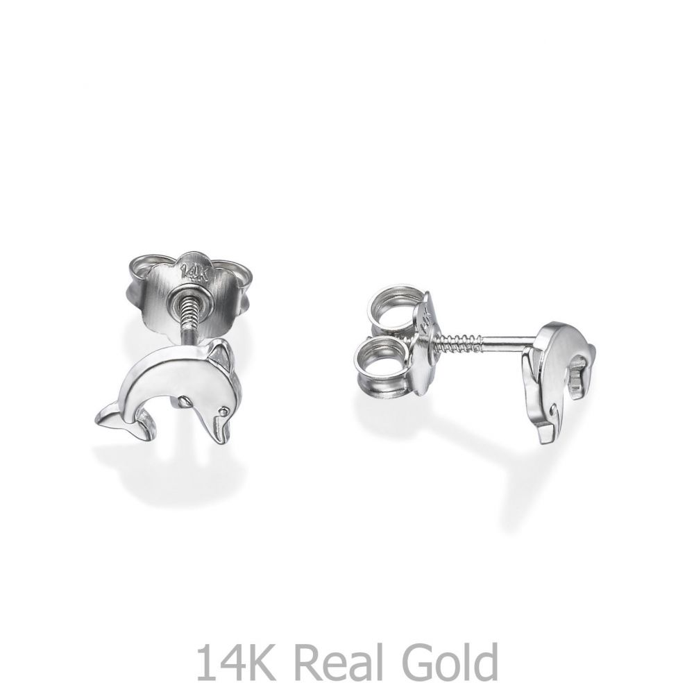 Girl's Jewelry | White Gold Stud Earrings -  Joyous Dolphin