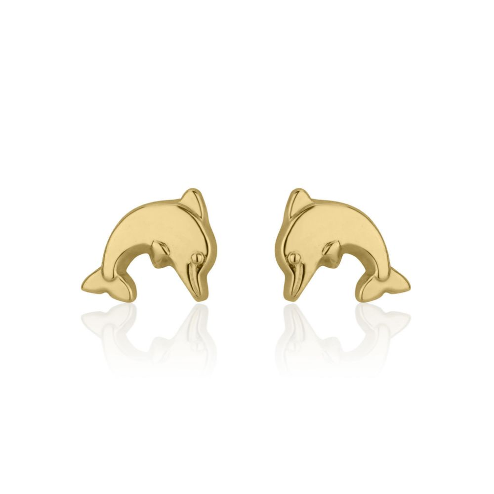 Girl's Jewelry | Gold Stud Earrings -  Joyous Dolphin