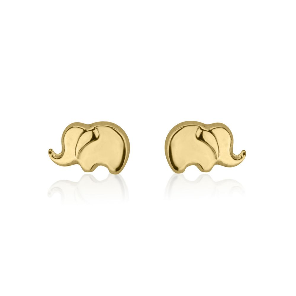 Girl's Jewelry | Gold Stud Earrings -  Eli Elephant