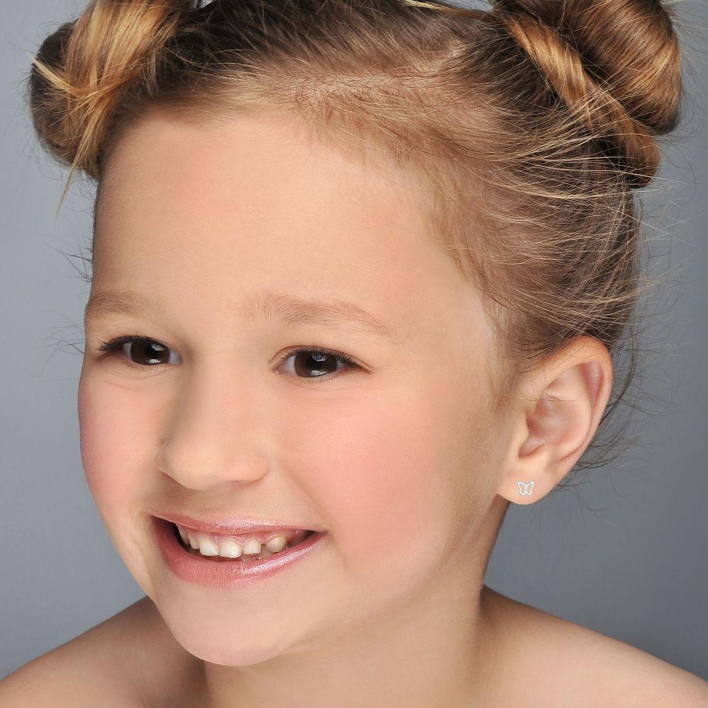Girl's Jewelry | White Gold Stud Earrings -  Delicate Butterfly