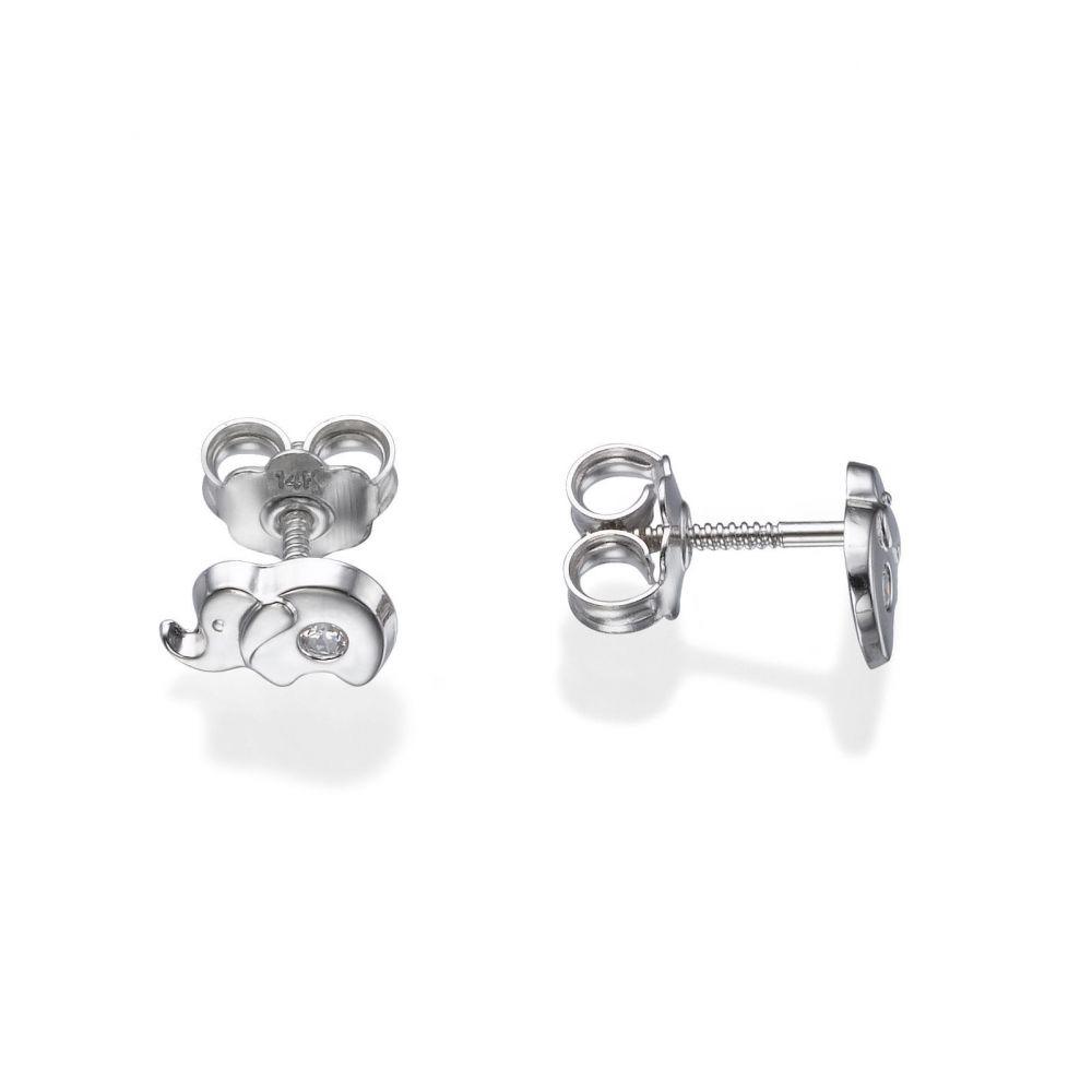 Girl's Jewelry | White Gold Stud Earrings -  Sparkling Elephant