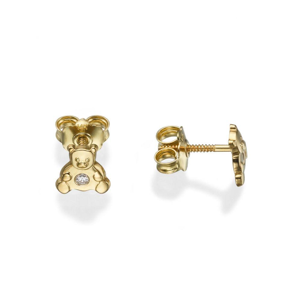 Girl's Jewelry | Gold Stud Earrings -  Sparkling Teddy