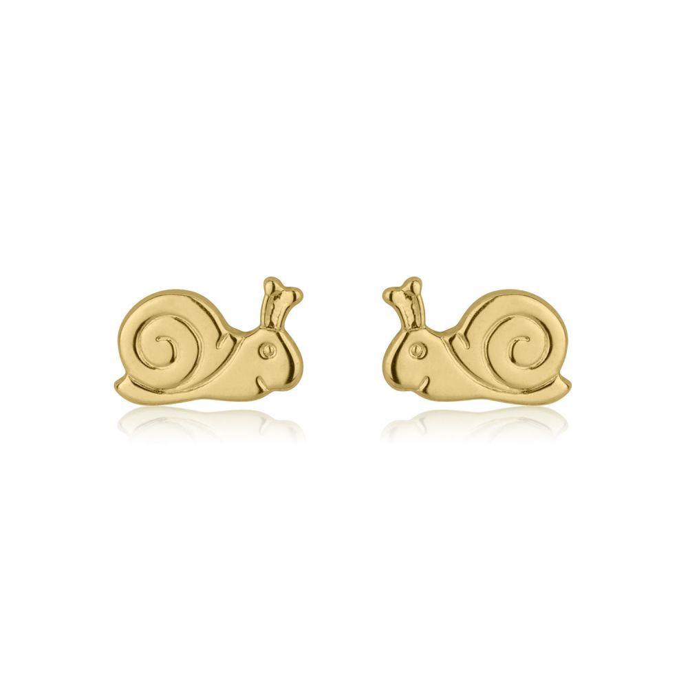 Girl's Jewelry | Gold Stud Earrings -  Snail