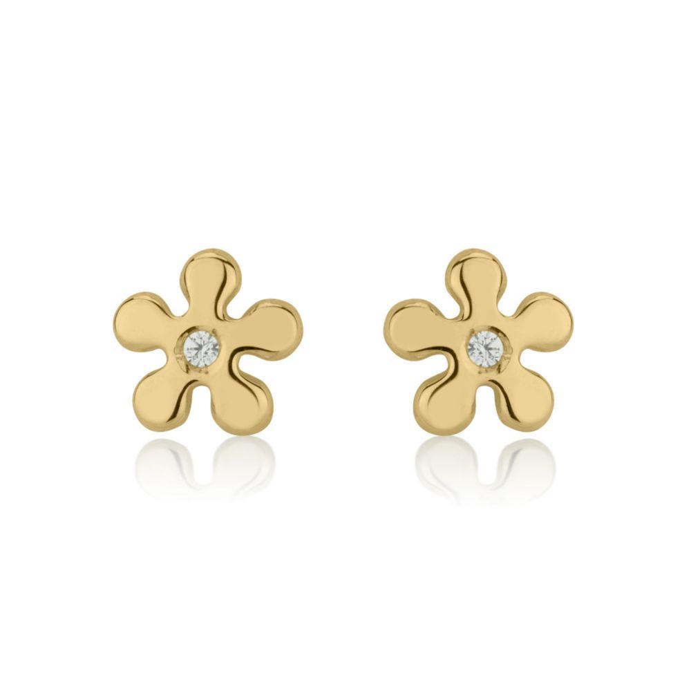 Girl's Jewelry | Gold Stud Earrings -  Flower of Amy