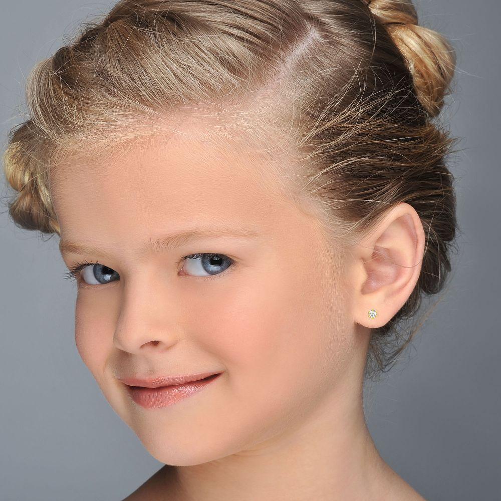 Girl's Jewelry | Gold Stud Earrings -  Flower of Helena