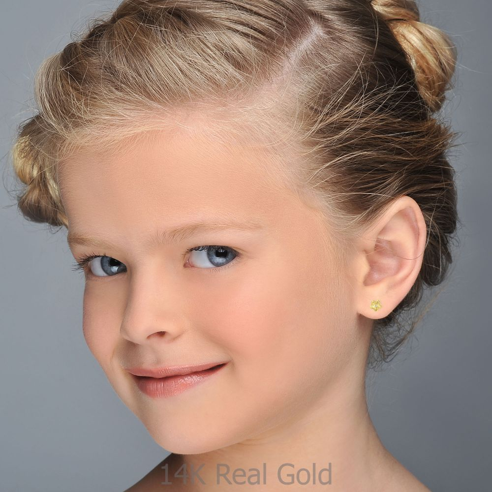 Girl's Jewelry | Gold Stud Earrings -  Flower of Barbara