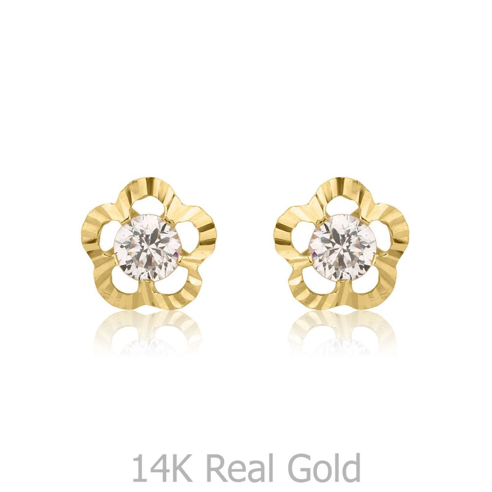 Girl's Jewelry | Gold Stud Earrings -  Flower of Victoria