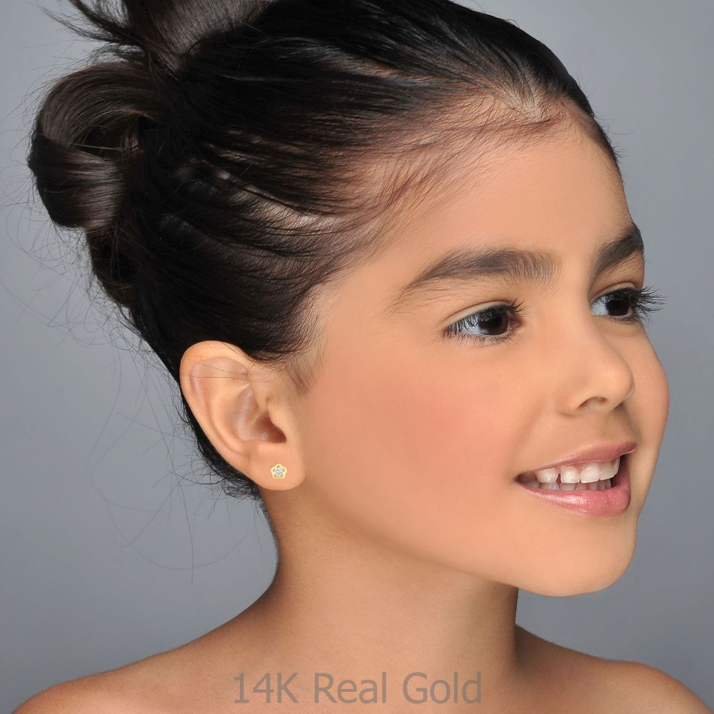 Girl's Jewelry | Gold Stud Earrings -  Jasmine Flower - Small
